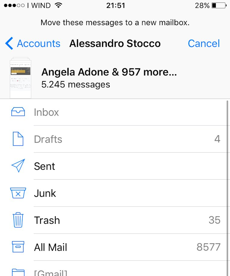 esempio seleziona tutte le email